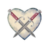 Heart Shaped with Knifes Symbol Stock Image
