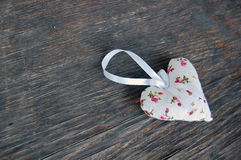 Heart shaped lavender bag Stock Photos