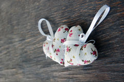 Heart shaped lavender bags Stock Photos