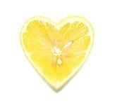 Heart Shaped Lemon Slice. On White Background Royalty Free Stock Photography