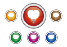 heart-shaped light bulb icon Stock Photos