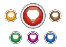 Heart-shaped Light Bulb Icon Stock Photos
