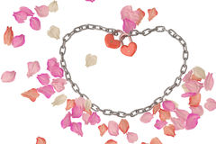 Heart-shaped lock and chains on petals background,3D illustratio Royalty Free Stock Photography