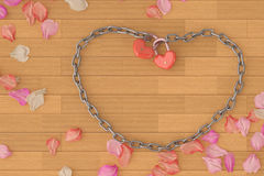 Heart-shaped lock and chains and petals on board background,3D i Stock Photos
