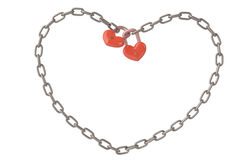 Heart-shaped lock hanging on chains,3D illustration. Royalty Free Stock Image