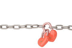 Heart-shaped lock hanging on chains,3D illustration. Royalty Free Stock Photography