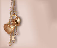 Heart shaped lock, key and ring Stock Image