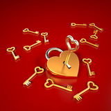 Heart Shaped Lock. With keys Stock Image
