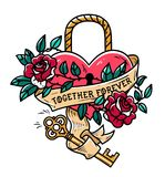 Heart shaped lock. Tattoo heart under lock and key. Together forever. Heart entwined in climbing rose tattoo. Old school. Heart shaped lock. Tattoo heart under Stock Images