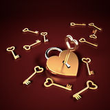 Heart Shaped Locked. Golden heart shaped lock whit keys Royalty Free Stock Photos