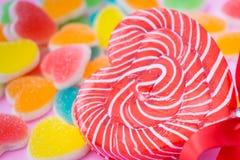 Heart shaped lollipop Royalty Free Stock Image