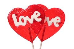 Heart shaped lollipops Royalty Free Stock Photos