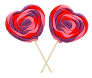 Heart shaped lollipops Stock Images