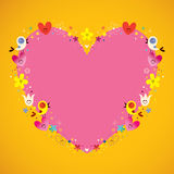 Heart shaped love frame. With cute birds hearts and flowers Stock Photography