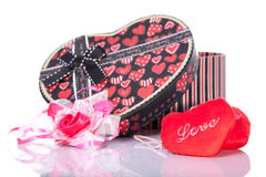 Heart Shaped Love with gift box present  with white background. Picture of red Heart Shaped Love with gift box present  with white background Stock Images