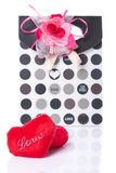 Heart Shaped Love with gift box present  with white background. Picture of red Heart Shaped Love with gift box present  with white background Royalty Free Stock Photos