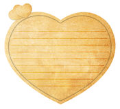 Heart Shaped Love Note. Parchment paper with ruled lines in the shape of a heart. Love note Stock Image
