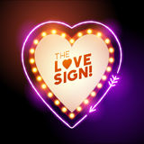 Heart shaped love sign. A glowing and lit up neon heart shaped love sign with room for text. Vector illustration Royalty Free Stock Photos