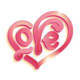 Heart shaped love. Vector Valentines Day illustration with 3d Love typography design on white background. Colored shadow is easily editable. Different Royalty Free Stock Image