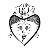 Heart shaped loving girl face, cute woman, black and white lines Royalty Free Stock Photo