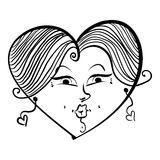 Heart shaped loving girl face, cute woman, black and white lines Royalty Free Stock Photos