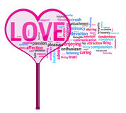 Heart shaped magnifying glass on love words. Magnifying glass is focusing on Love with al its meanings Stock Photography