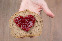 Heart shaped with marmelade Stock Images