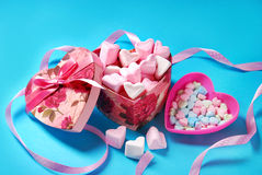 Heart shaped marshmallows and candies in gift box Stock Photo