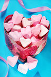 Heart shaped marshmallows in gift box Royalty Free Stock Photo