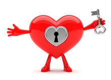 Heart shaped mascot holding key Royalty Free Stock Photography