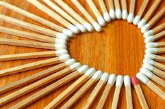 Heart shaped matchstick Royalty Free Stock Image