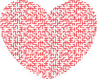 Heart shaped maze. Red heart in the form of an intricate maze on white background Stock Photography