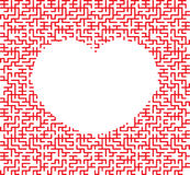 Heart shaped maze. Red heart in the form of an intricate maze on white background stock illustration