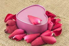 Heart shaped metal box with a red rose is placed on sackcloth. Heart shaped metal box with a rose is placed on sackcloth Royalty Free Stock Images