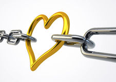 Heart Shaped Metal Holding Chains Together Stock Image