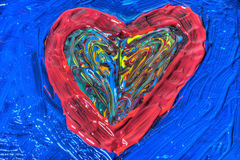 Heart shaped mixed painted colors Royalty Free Stock Photos