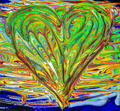 Heart shaped mixed painted colors Royalty Free Stock Photo