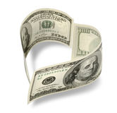Heart shaped money Stock Photography