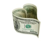 Heart shaped money Stock Images
