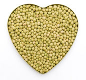 Heart shaped mung beans. Heart shaped dry mung beans Stock Images