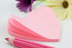 Heart shaped note paper Royalty Free Stock Images
