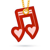 Heart shaped note sign. Label tag hanging on Royalty Free Stock Photo