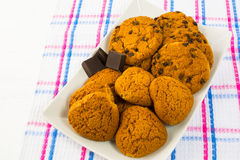 Heart shaped oatmeal  cookies and chocolate chip cookies Stock Image