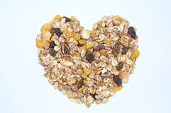 Heart shaped oatmeal love Royalty Free Stock Images