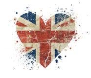 Heart shaped grunge vintage UK Great Britain flag. Heart shaped old grunge vintage dirty faded shabby distressed UK Great Britain national flag with bang splash Stock Photos