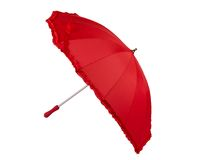 Heart shaped open red umbrella Stock Photos