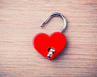 Heart shaped opened lock Stock Images
