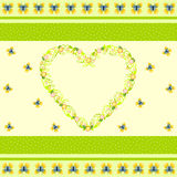 Heart shaped out of flourish pattern with butterflies and flowers Stock Images