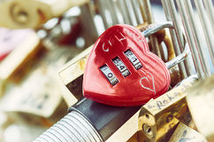 Heart shaped padlock at love bridge in Paris Royalty Free Stock Photography