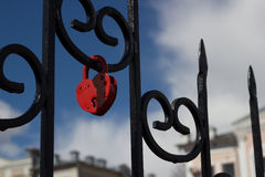 Heart-shaped padlock Stock Photo